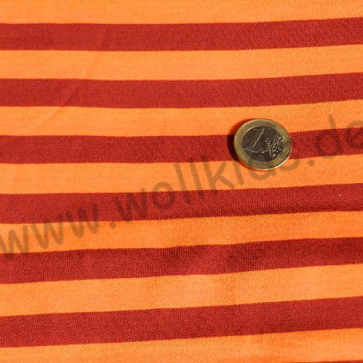 Wundervoller Jersey burgund orange Ringel - kuschelig weich