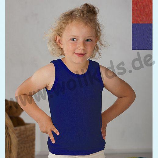 Cosilana Kinder Trägerhemd Hemd ohne Arm Wolle Seide rot oder blau