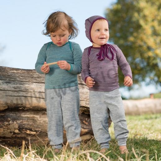 NEU: ENGEL hellgrau - melange Baby Hose mit Umschlagbund, Wolle Seide BIO