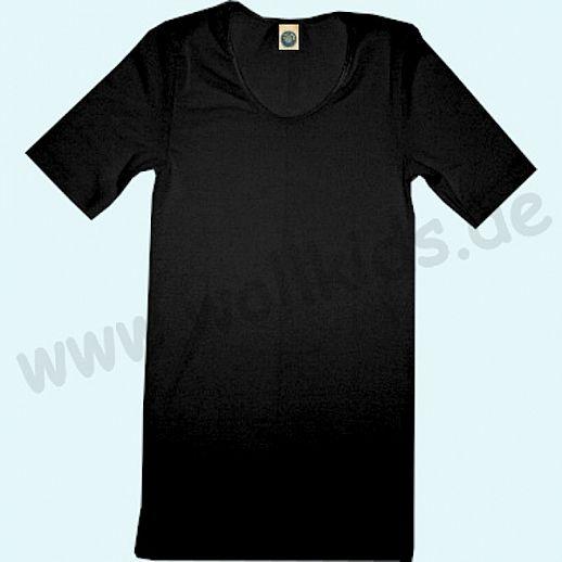 COSILANA: Kurzarm - Damen Hemd - Wolle-Seide - schwarz BIO kbT Natur