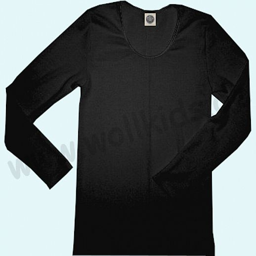 COSILANA: Langarm - Damen Hemd - Wolle-Seide - schwarz BIO kbT Natur