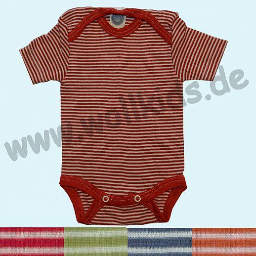 COSILANA Body - KA Ringel - Wolle Seide verschiedene Farben Kurzarm Babybody