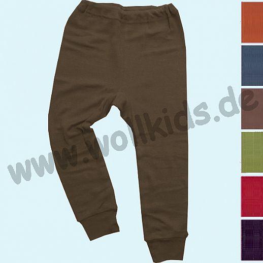 Cosilana - Lange Kinderunterhose, Wolle Seide uni farbig, rot marine orange grün schoko pflaume