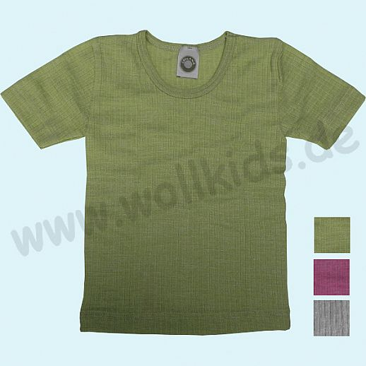 Cosilana Unterhemd Kurzarm Shirt - Seide Wolle-Baumwolle BIO grau gr
