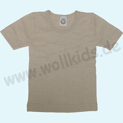 Cosilana Unterhemd Kurzarm Shirt - Seide Wolle-Baumwolle BIO natur