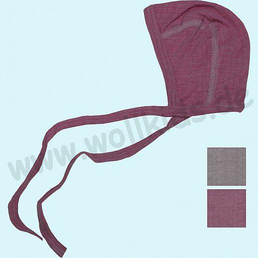COSILANA: Baby-Häubchen - Mütze - Seide Wolle-Baumwolle, grau und weinrot