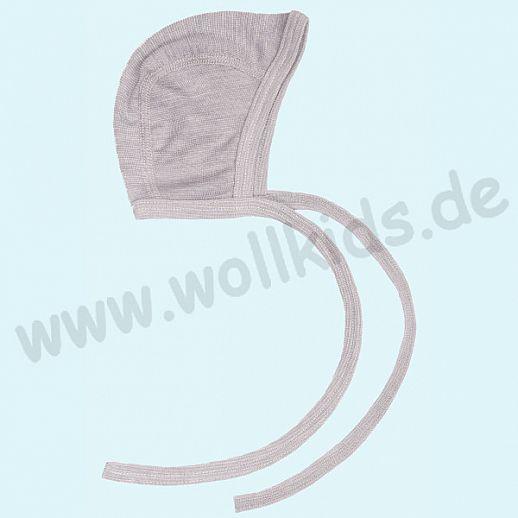 COSILANA: Baby-Häubchen - Mütze - Wolle Seide - SONDERMODELL Häubchen grau meliert