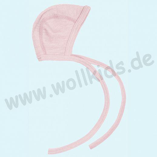 COSILANA: Baby-Häubchen - Mütze - Wolle Seide - SONDERMODELL Häubchen rosa meliert