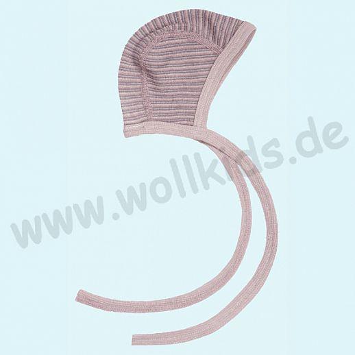 COSILANA: Baby-Häubchen - Mütze - Wolle Seide - SONDERMODELL Häubchen rosa grau natur