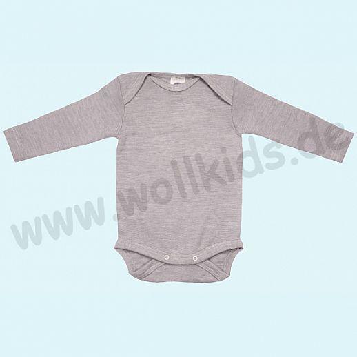 COSILANA Baby Body LA Wolle Seide SONDERMODELL Wäsche Babybody ORGANIC kbT grau-melange