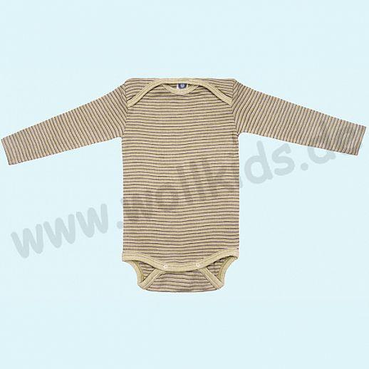 COSILANA Baby Body LA Wolle Seide SONDERMODELL Wäsche Babybody ORGANIC kbT grün-pflaume-natur