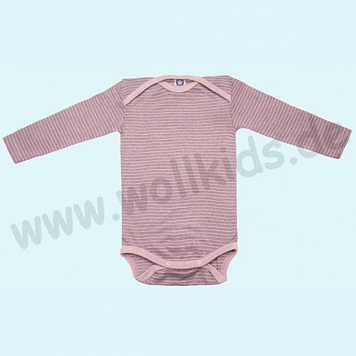 COSILANA Baby Body LA Wolle Seide SONDERMODELL Wäsche Babybody ORGANIC kbT rose-grau-natur
