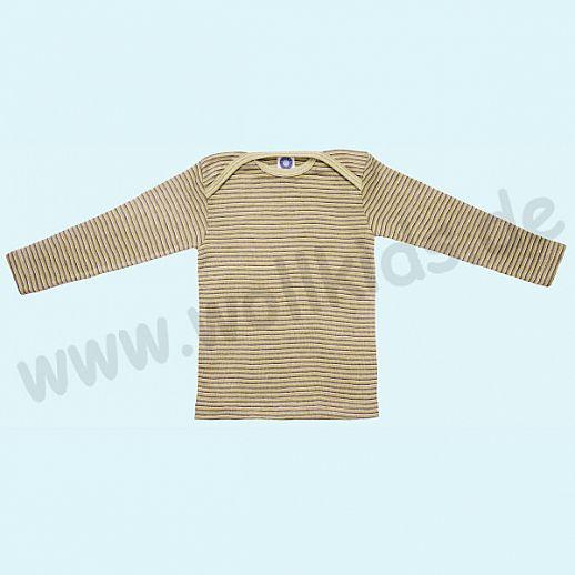 COSILANA Sondermodell: Baby-Schlupfhemd LA Wolle Seide grün pflaume natur ORGANIC