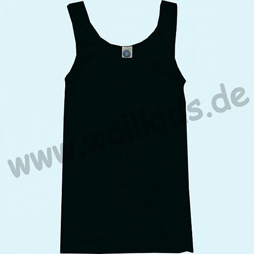 COSILANA: Damen Trägerhemd - Wolle Seide - schwarz BIO kbT Wolle - Hemd