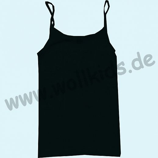 COSILANA: Spaghetti-Trägerhemd - Wolle Seide - schwarz kbT BIO - Damen Hemdchen