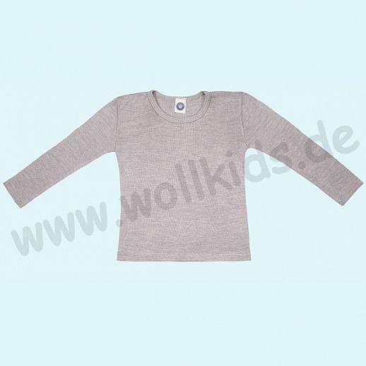 Cosilana Kinderhemd LA Wolle Seide Organic BIO Langarm Shirt Sondermodell grau meliert