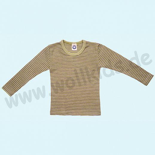 Cosilana Kinderhemd LA Wolle Seide Organic BIO Langarm Shirt Sondermodell grün pflaume natur