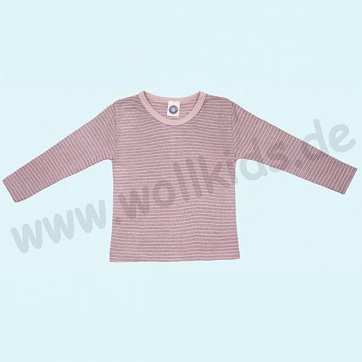 Cosilana Kinderhemd LA Wolle Seide Organic BIO Langarm Shirt Sondermodell rosa grau natur