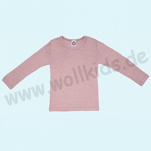 Cosilana Kinderhemd LA Wolle Seide Organic BIO Langarm Shirt Sondermodell rosa meliert