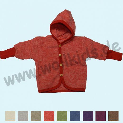NEU: Cosilana Wollfleece Jacke mit Kapuze - weiches kbT Schurwoll-Fleece mit Bio-Baumwolle