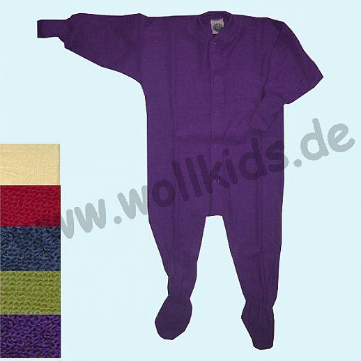 AUF LAGER: Wollfrottee -Schlafanzug - 5 Farben Einteiler mit Fuß von COSILANA - BIO
