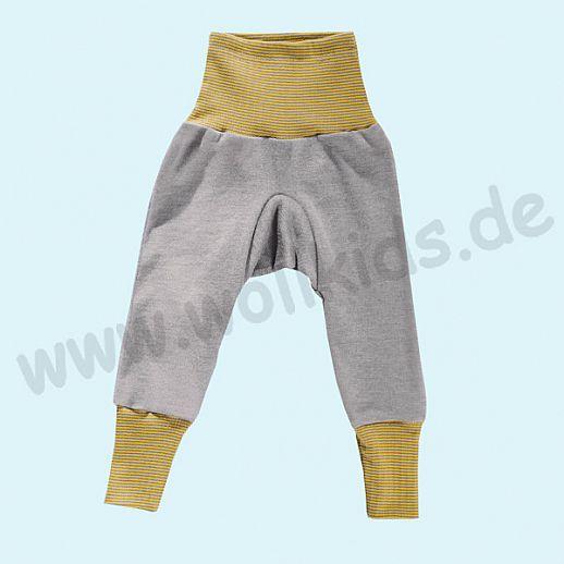 COSILANA Baby-Hose Wolle Seide - SONDERMODELL Babyhose BIO kbT Organic grau-curry