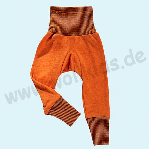COSILANA Baby-Hose Wolle Seide - SONDERMODELL Babyhose BIO kbT Organic terracotta-orange geringelt