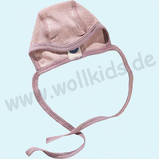 COSILANA: Baby-Häubchen - Mütze - Wolle Seide - SONDERMODELL Häubchen rose-grau