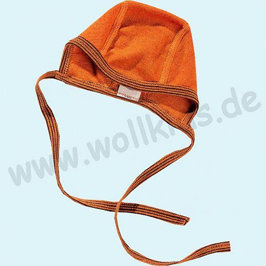 COSILANA: Baby-Häubchen - Mütze - Wolle Seide - SONDERMODELL Häubchen terracotta-orange geringelt