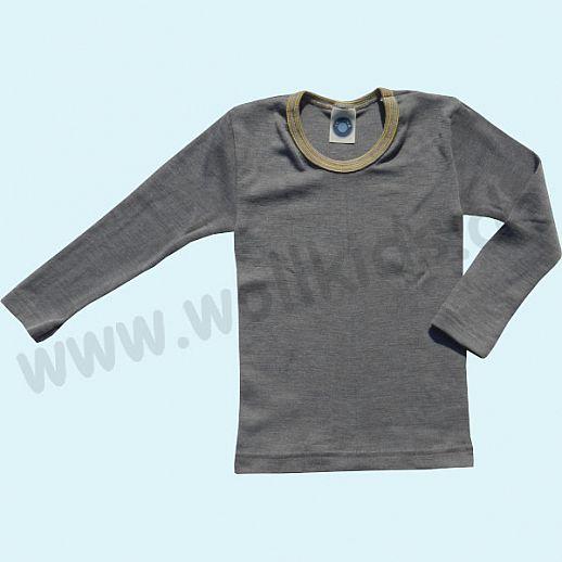 Cosilana Kinderhemd LA Wolle Seide Organic BIO Langarm Shirt Sondermodell grau-curry