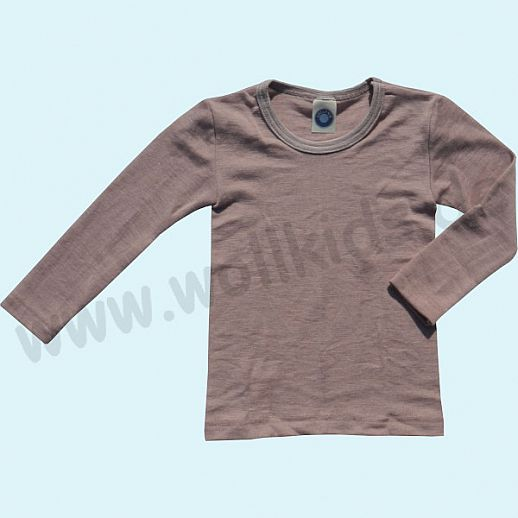 Cosilana Kinderhemd LA Wolle Seide Organic BIO Langarm Shirt Sondermodell rose-grau