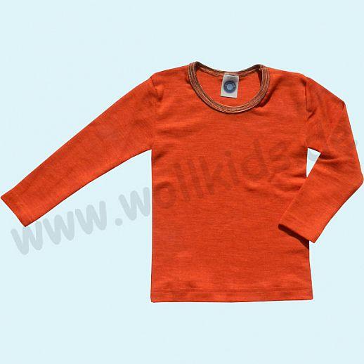 Cosilana Kinderhemd LA Wolle Seide Organic BIO Langarm Shirt Sondermodell terracotta-orange geringelt
