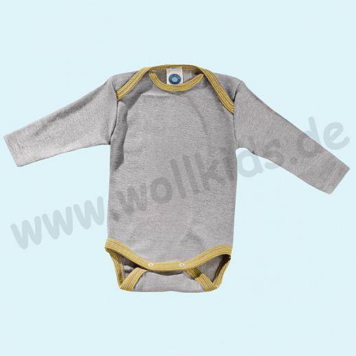 COSILANA Baby Body LA Wolle Seide SONDERMODELL Wäsche Babybody ORGANIC kbT grau - curry