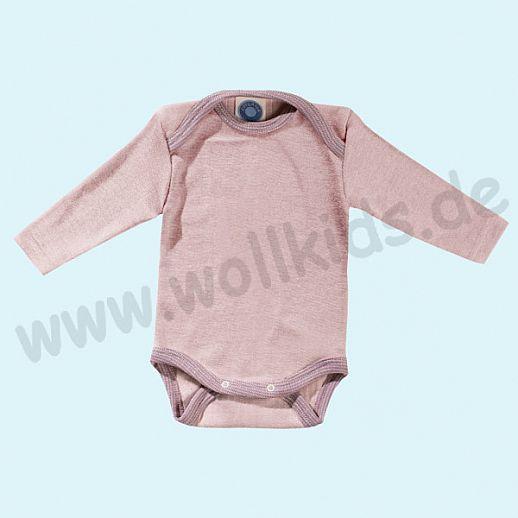COSILANA Baby Body LA Wolle Seide SONDERMODELL Wäsche Babybody ORGANIC kbT rose-grau