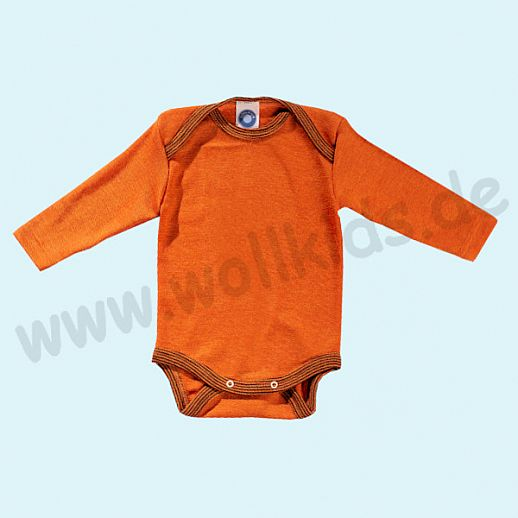 COSILANA Baby Body LA Wolle Seide SONDERMODELL Wäsche Babybody ORGANIC kbT terracotta-orange geringelt
