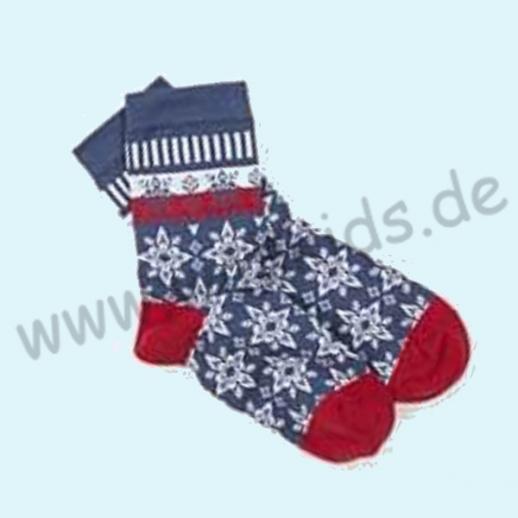 Grödo: Natur pur - Eistern Damensocke, blau meliert, BIO Baumwolle - so schön!