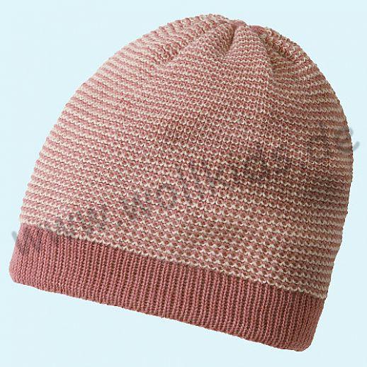 NEUE FARBE: Rose-Natur - Disana - Beanie Mütze - Strickmütze Melange - 100% kbT-Schurwolle