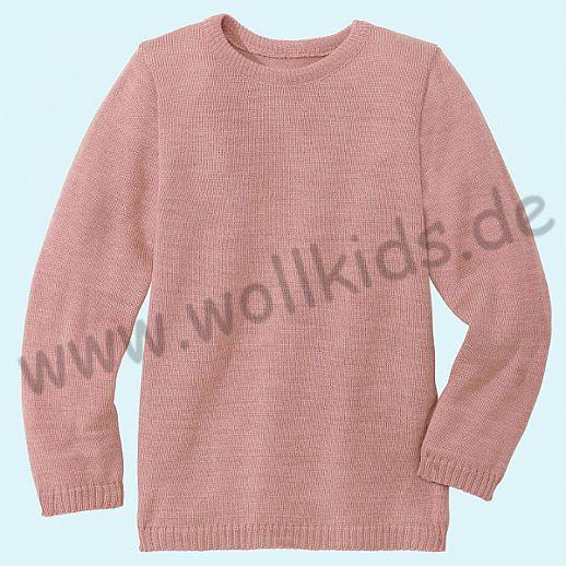 NEUE Farbe: ROSE - DISANA - Pullover - Kinder Strickpullover Pullover Pulli uni - 100% kbT-Schurwolle