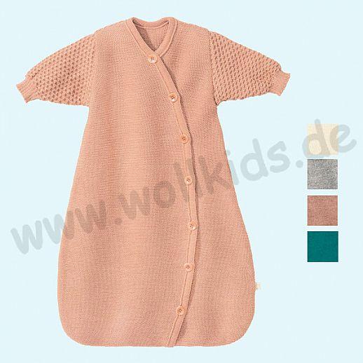 NEU im Geschenkkarton: DISANA - Schlafsack mit langen Ärmeln - kbT Schurwolle Merino Strickschlafsack