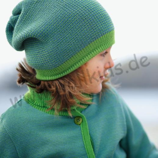 Disana - Long Beanie Mütze - Strickmütze Melange - 6 Farben - 100% kbT-Schurwolle