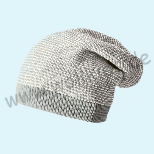 Disana- neue Farben - Long Beanie Mütze - Strickmütze Melange - 100% kbT-Schurwolle