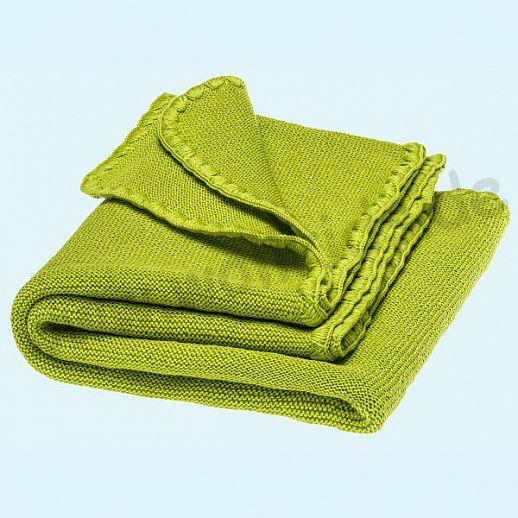 NEU - Sondermodell: DISANA Strick-Decke Melange Wolldecke kbT Schurwolle BIO - apfelgrün