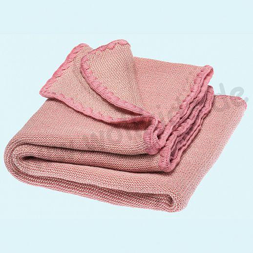 NEU - Sondermodell: DISANA Strick-Decke Melange Wolldecke kbT Schurwolle BIO - natur-rosa