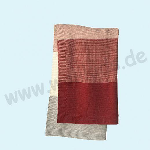 GANZ NEU: DISANA Strick-Decke Wolldecke kbT Schurwolle Babydecke BIO im Geschenkkarton bordeaux-rose