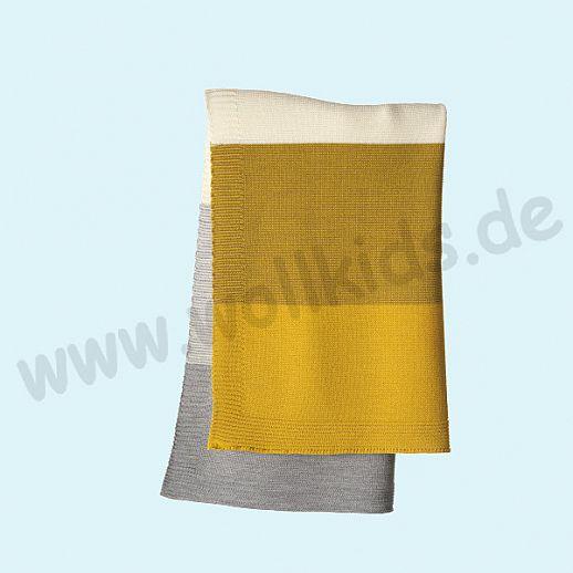 GANZ NEU: DISANA Strick-Decke Wolldecke kbT Schurwolle Babydecke BIO im Geschenkkarton curry-gold