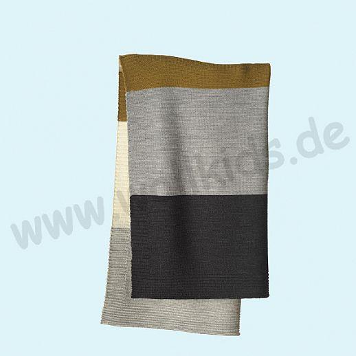 GANZ NEU: DISANA Strick-Decke Wolldecke kbT Schurwolle Babydecke BIO im Geschenkkarton gold-grau