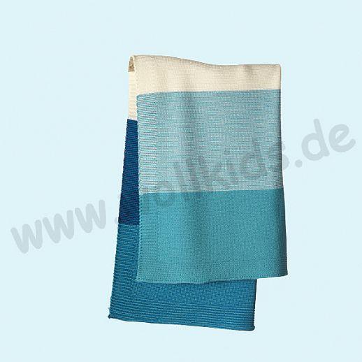 GANZ NEU: DISANA Strick-Decke Wolldecke kbT Schurwolle Babydecke BIO im Geschenkkarton lagoon-blau