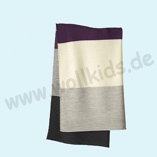 GANZ NEU: DISANA Strick-Decke Wolldecke kbT Schurwolle Babydecke BIO im Geschenkkarton pflaume-grau