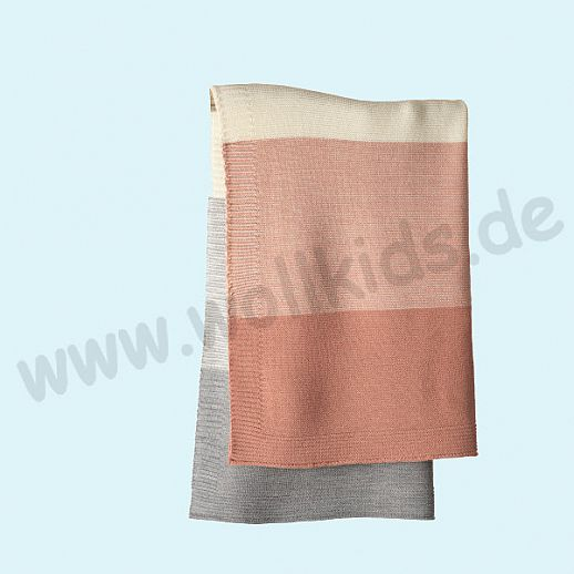 GANZ NEU: DISANA Strick-Decke Wolldecke kbT Schurwolle Babydecke BIO im Geschenkkarton rose-natur