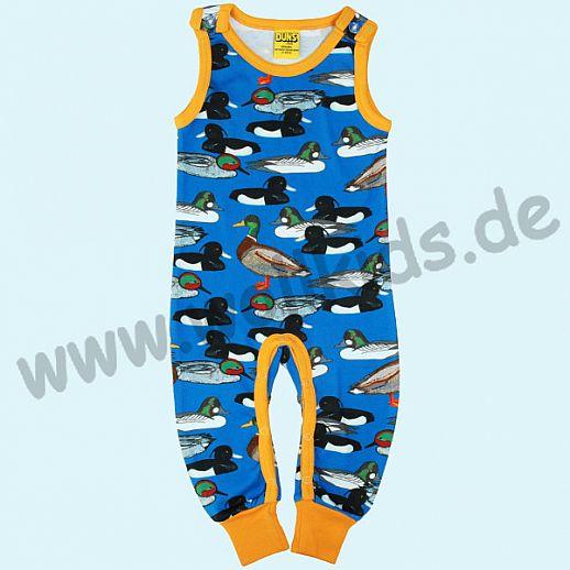 DUNS Sweden: BIO-Baumwolle GOTS Overall Dungaree Strampler ORGANIC Enten auf blau